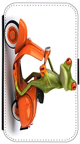 Kuna Flip Cover für Apple iPhone 4 / 4s Design K736 Fische Hülle aus Kunst-Leder Handy Tasche Etui mit Kreditkartenfächern Schutzhülle Case Wallet Buchflip Rückseite Schwarz Vorderseite Bedruckt mit B K740