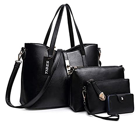 Tibes Fashion Women's PU Leather Handbag+Shoulder Bag+Purse+Card Holder 4pcs Set Black
