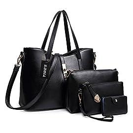 TIBES Bags For Women Ladies Handbags Shoulder Bag Cross Body Bag Clutches For Women Card Bag 4 Piece Set