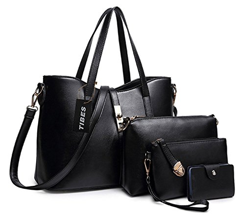 - 41urmVgt7VL - Tibes Fashion Women's PU Leather Handbag+Shoulder Bag+Purse+Card Holder 4pcs Set