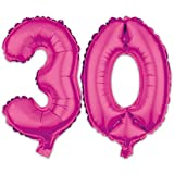 Ballon Zahl 30. Geburtstag in Pink - Folienballon Zahlen Party Geschenk Dekoration Luftballon Rosa Happy Birthday
