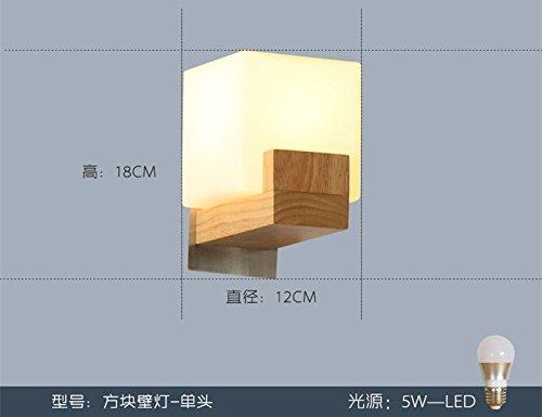 LIYAN minimalistische Wandleuchte Wandleuchte E26 /E27 E27 kreative Holz- Wandleuchten minimalistischen modernen hellen Bettkopfteile aus Holz Schlafzimmer Flur Gang leuchten 9.