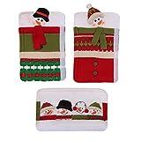 BESTONZON Copri maniglia per manico frigorifero 3 pezzi Copri manico per pupazzo di neve - Decorazione natalizia - Abito per arredamento con maniglia Impiccagione Natale decalcomanie per elettrodomestici da cucina