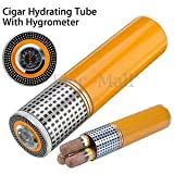 SLB Works Brand New Mini Cylindrical Travel Cigar Hydrating Tube Humidor With Hygrometer