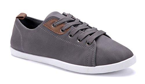 Schuhtempel24 Damen Schuhe Low Sneaker grau flach
