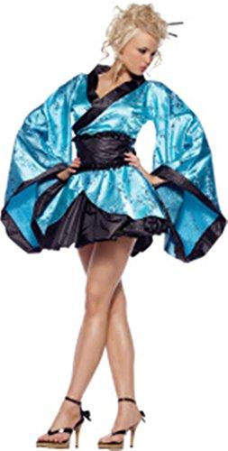 NEU FRAUEN 4Stück blau Satin Geisha Girl Kostüm Outfit Fancy Dress Hen Night Größe UK 10–12EU (Kostüm Frauen Für Geisha)