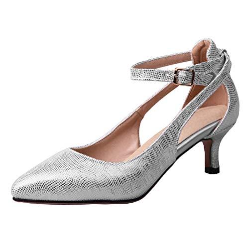 Vitalo Damen Ankle Strap Spitz Pumps mit Riemchen und Kitten Heel Fashion Closed Toe Women Schuhe(Silber,41)