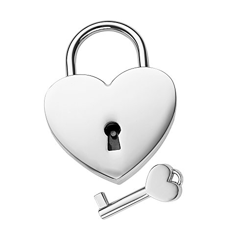 Gravado - lucchetto a forma di cuore in acciaio inossidabile con chiave inclusa - idea regalo per coppie - regalo di san valentino - regalo per lui e lei - romantico regalo di nozze