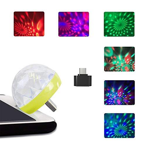 Gaddrt Disco Light USB-Mini-LED-Nachtlicht-USB Mini RGB Bühnenlicht Party Club DJ KTV Weihnachten Magische Telefon Ball Lampe Party Lampe 4X4cm (Yellow)