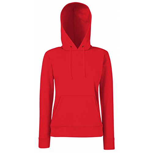 Fruit of the Loom - Lady-Fit Hooded Sweat L,Red