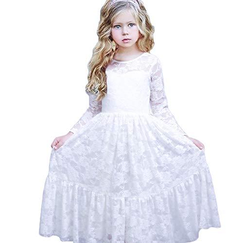 CQDY Prinzessin Kleid mädchen Spitze Mädchen Kleider Festlich Spitze Kleider Kinder (12-13 Jahre(155cm), Weiß)