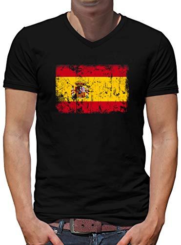 Touchlines Spanien Vintage Flagge Fahne V-Neck T-Shirt Herren M Schwarz