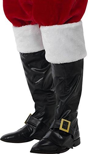 Preisvergleich Produktbild Smiffys Herren Weihnachtsmann Stiefel Überzieher mit Pelz, One Size, Schwarz, 21419