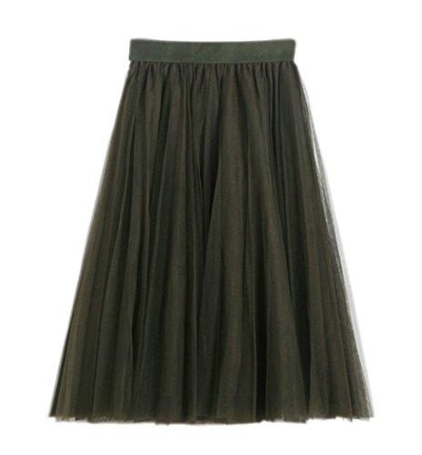 URVIP Damen's Unterrock 50er Retro Tüllrock Tutu Petticoat Tanzkleid Olivgrün One Size