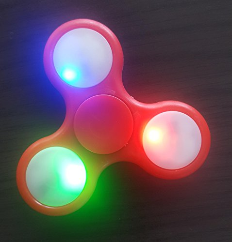LEDELI Turbo Fidget Spinner Finger Kreisel mit Hochleistung Kugellagern Hand Spielzeug Anti Stress ADHS (LED Rot)