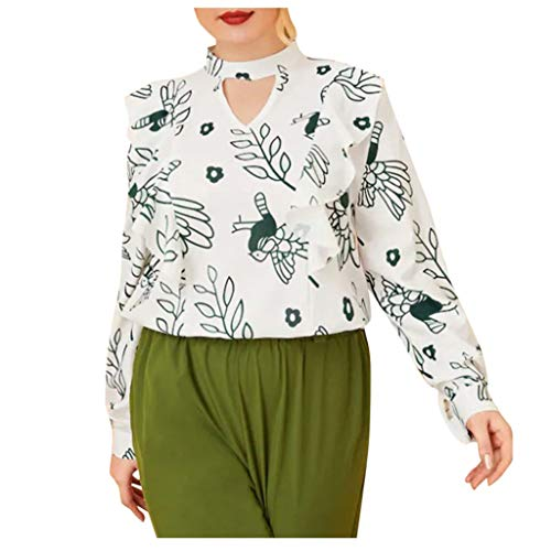 GOKOMO Frauen Langarm Print Large Size T-Shirt Top Frauen-Herbst-beiläufige Plus Größen-Lange Hülsen-gedruckte T-Shirt Spitzenbluse(Weiß,X-Large)
