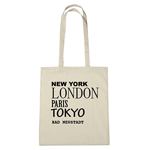 JOllify Bad Neustadt di cotone felpato b1856 schwarz: New York, London, Paris, Tokyo natur: New York, London, Paris, Tokyo
