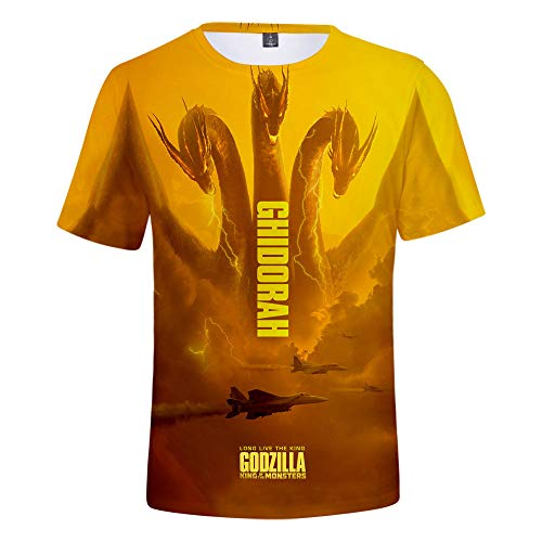 3D T-Shirt Unisex HD Gedrucktes Rundhalsausschnitt Lässig Mit Print Kurzarm Top Godzilla: King of The Monsters XXL (Tv Show Paare Kostüm)