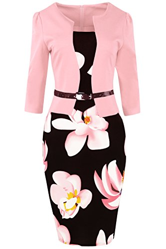 (MisShow Damen 3/4 Arm Cocktailkleid 1950er Jahre Business Stretch Kleid FS0671 Rosa 4XL)