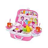 YeahiBaby Kinder Schneiden Spielzeug Set Küchenspielzeug Puppengeschirr mit Obst Gemüse für Baby Mädchen Jungen (Rosa)