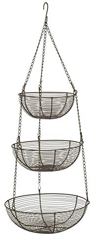RSVP Bronze 3 Tier Hanging Woven Wire Metal Basket Fruit Vegetable Kitchen New