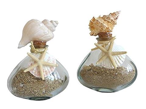 2er Set Glasflasche mit Muscheln & Sand maritim Glas Flasche Badezimmer Deko