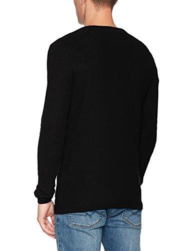 TOM TAILOR Denim Herren Pullover Nos-Structured Crewneck Schwarz (Black 2999)