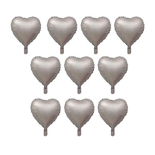 SM SunniMix 10er-Set Herz Ballon, aus Aluminiumfolie, ca. 18 Zoll - Silber grau