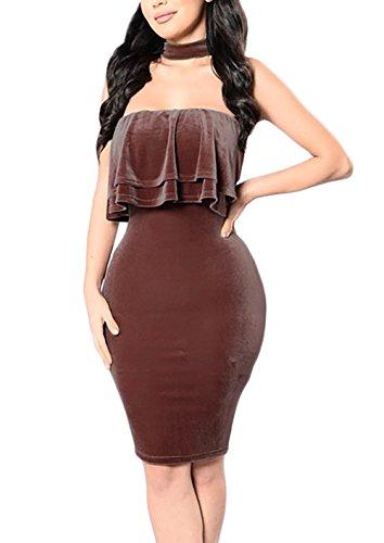 Damen Abendmode Damen Kurz Rückenfrei Elegant Vintage Jumpsuit  Cocktailkleid Partykleider Braun