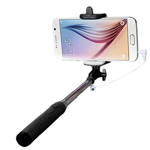Fulltime® Trépied de Self Pole Poche Extensible Monopode bâton pour Smartphone (Noir)