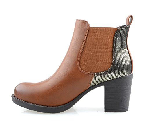 Eyekepper Chaussure fashion femme demoiselle - chaussures botte a talon Tan