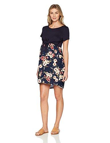 Three Seasons Maternity Damen Short Sleeve Mixed Pattern Tie Front Nursing Dress Kleid, Marineblau mit Blumenmuster, X-Groß -