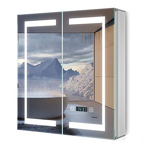 Quavikey LED Spiegelschrank Aluminium Badezimmer Spiegelschrank mit Beleuchtung Lichtspiegelschrank Digital Uhr Rasier Steckdose Antibeschlag Touchchalter 65x63cm