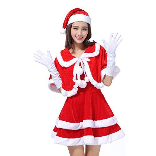 YYF Weihnachten Kostüm Damen Samt Minikleid Weihnachten A-Linen Weihnachtsfrau Kleid mit Hut (Für Weihnachten Kostüme Damen)