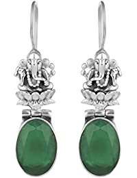 Peora 925 Sterling Silver Ganeshji Black Onyx Spiritual Hook Earrings for Women Girls