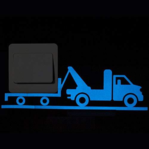 NIHML Blau-Licht Leuchtende Schalter Aufkleber Wohnkultur Cartoon Glowing Wandaufkleber Dark Glow Dekoration Aufkleber Anhänger -