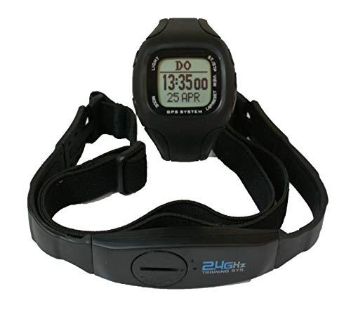 GPS Pulsuhr mit Brustgurt | Wasserdicht | Trainigscomputer mit Modus- und Profileinstellungen | 3 Navigationsmodi | Herzfrequenzmessung | inkl. PC Software | Kompassfunktion & Displaybeleuchtung