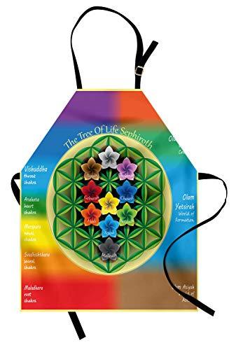 ABAKUHAUS Abstrakt Kochschürze, Baum des Lebens-Diagramms mit geistigem Chakra und Universum-Ikonen blüht Yoga-Muster, Farbfest Höhenverstellbar Waschbar Klarer Digitaldruck, Mehrfarbig -