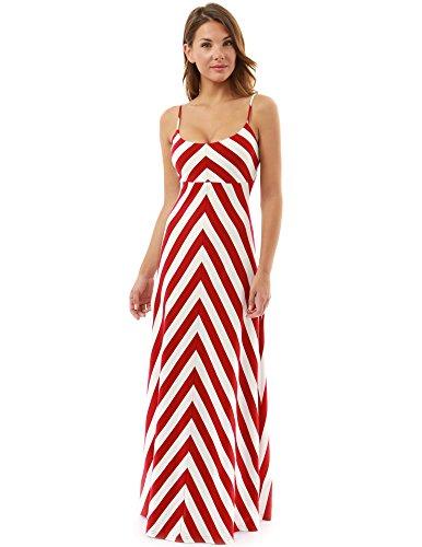 PattyBoutik Damen gestreiftes Maxi-Kleid ärmellos mit dünnen Spaghettiträgern und U-Auschnitt (Rot und Elfenbein-Weiß 44/L)