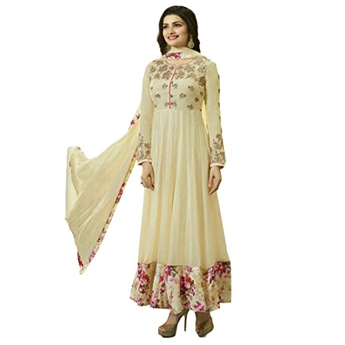 Sky Blue Fashion Georgette Semi Stiched Embroidered Cream Anarkali Suit For Women  available at amazon for Rs.1599