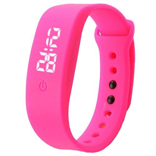 Zolimx Damen Herren Sport Uhr Gummi LED Datum Armband Digital Armbanduhr (Hot Pink)