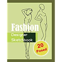 Fashion Designer Sketchbook - Green: 20 Figure sketch different posed template will easily create your fashion styles