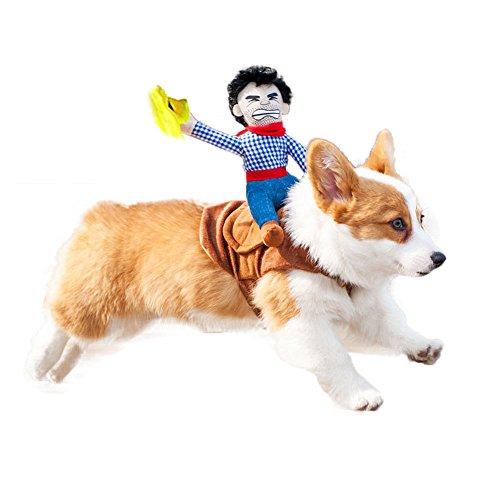 (ZENKO Haustier Kostüme Hund, Hundekleidung Outfit Cowboy Reiter Lustige Anzug Kleidung für Hunde und Katzen für Halloween Festival Weihnachten, 3 Größe (S))