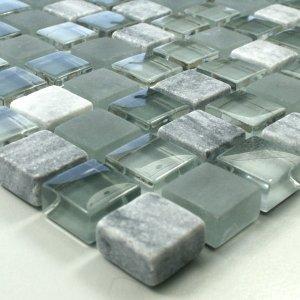 Glas Marmor Mosaik (Glas Marmor Mosaik Fliesen 15x15x8mm Grau Mix)