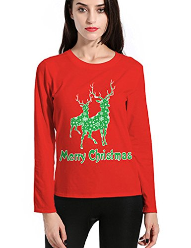 Bestgift Damen Mode O-Necke Sweatshirt Langarm Tee Shirt Basic Freizeit T-Shirt Rot 2