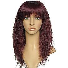 Mode Long rizado vino rojo peluca Nuevo inalámbrico de alta temperatura químico tapón de la cápsula