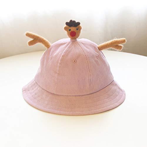 ChildHat 2018 Hut für Kinder,Baby Mütze weiche Schwester wenig gelben Hut frisch Baby Hut Ohren Eltern-Kind-Hut DIY Cord Kinder, Elch lila, Plus Kaschmir S Kinder 2-7 (53CM)