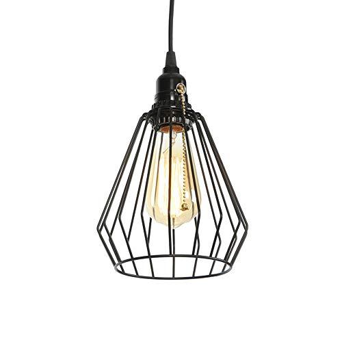 Retro Industrial Edison Pendiente E27de La Jaula del Diamante Comedor Estar Bar Iluminación Sola Cabeza(Sin Bombilla)