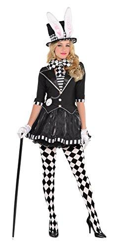 Menschen Kostüm Coole Schwarze - Dunkler Verrückter Hutmacher Alice im Wunderland Kostüm Damen Amscan- Gr. 42-26 Euro (L), Schwarz