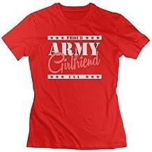 Frauen Armee _ Freundin Farbe anpassbare Cool Casual T Shirt Shirts Größe, damen, rot